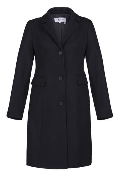 Black coat to the knee with buttons